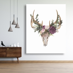 Canvas 48 x 60 - Deer skull with flowers