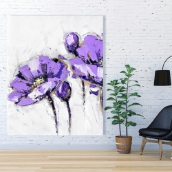 Canvas 48 x 60 - Purple abstract flowers
