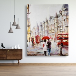 Canvas 48 x 60 - European street by a rainy day