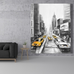 Canvas 48 x 60 - Yellow taxis in new york