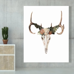 Canvas 48 x 60 - Deer skull with roses