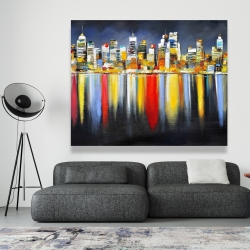 Canvas 48 x 60 - Colorful reflection of a cityscape by night