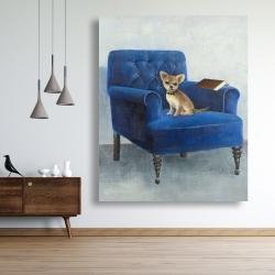 Canvas 48 x 60 - Chihuahua on a blue armchair