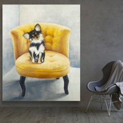 Canvas 48 x 60 - Long-haired chihuahua on a yellow armchair
