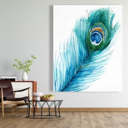 Canvas 48 x 60 - Long peacock feather