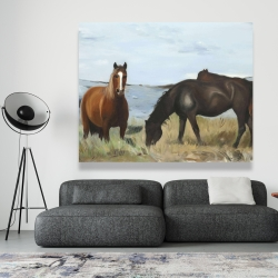 Canvas 48 x 60 - Horses eating in the meadow
