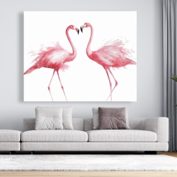 Canvas 48 x 60 - Two pink flamingo watercolor