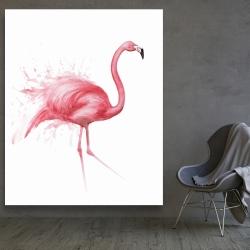 Canvas 48 x 60 - Pink flamingo watercolor