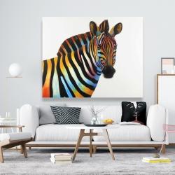 Canvas 48 x 60 - Colorful profile view of a zebra