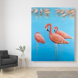 Canvas 48 x 60 - Group of flamingos