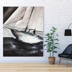 Canvas 48 x 60 - Boat in a violent storm