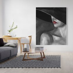 Canvas 48 x 60 - Mysterious woman with a hat