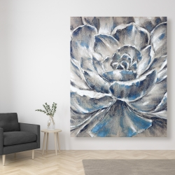 Canvas 48 x 60 - Gray and blue flower