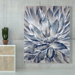 Canvas 48 x 60 - Blue and gray flower