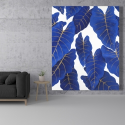 Canvas 48 x 60 - Tropical abstract blue leaves