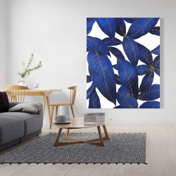 Canvas 48 x 60 - Abstract modern blue leaves