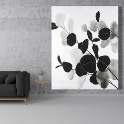 Canvas 48 x 60 - Grayscale branches with leaves