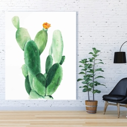 Canvas 48 x 60 - Watercolor paddle cactus with flower