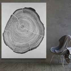 Canvas 48 x 60 - Grayscale wood log