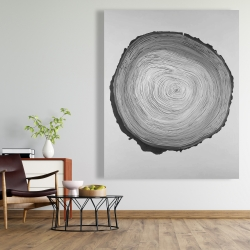 Canvas 48 x 60 - Grayscale round wood log