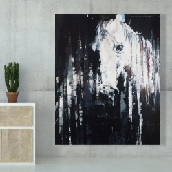 Canvas 48 x 60 - Abstract horse on black background