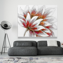 Canvas 48 x 60 - Red flower with gold center