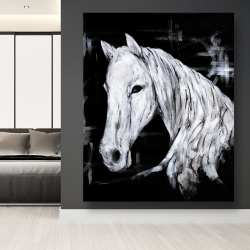 Canvas 48 x 60 - Abstract horse profile view