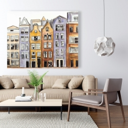 Canvas 48 x 60 - Amsterdam houses hotel