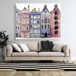 Canvas 48 x 60 - Old historic houses amsterdam