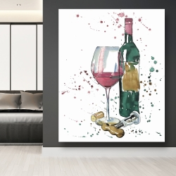 Canvas 48 x 60 - Bottle of red wine