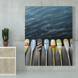 Canvas 48 x 60 - Colorful paddles on the dock