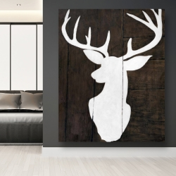 Canvas 48 x 60 - Silhouette of a deer on wood