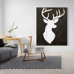 Canvas 48 x 60 - White silhouette of a deer on wood