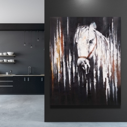 Canvas 48 x 60 - White horse in the dark