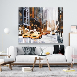 Canvas 48 x 60 - Big city street with yellow taxi