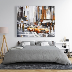 Canvas 48 x 60 - Abstract citystreet with yellow taxis