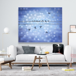 Canvas 48 x 60 - Birds on a wire with a clear blue sky