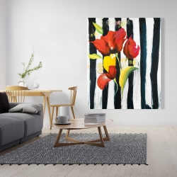 Canvas 48 x 60 - Red flowers on stripes
