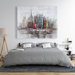 Canvas 48 x 60 - Cityscape with typography in relief