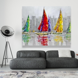 Canvas 48 x 60 - Sailboats in the wind