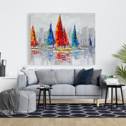 Canvas 48 x 60 - Colorful boats near a gray city