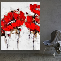 Canvas 48 x 60 - Red poppies with texture