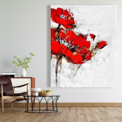 Canvas 48 x 60 - Abstract red flowers with texture