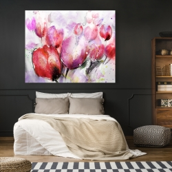 Canvas 48 x 60 - Abstract blurry tulips