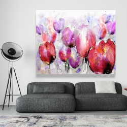 Canvas 48 x 60 - Pink tulips field