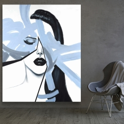 Canvas 48 x 60 - Abstract blue woman portrait