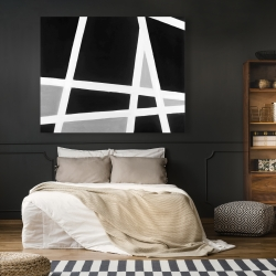 Canvas 48 x 60 - Black and white abstract lines