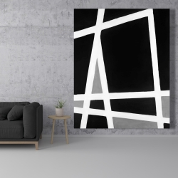 Canvas 48 x 60 - Black and white abstract shapes