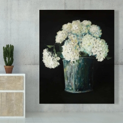 Canvas 48 x 60 - White hydrangea flowers