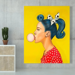 Canvas 48 x 60 - Retro woman with beautiful ponytail